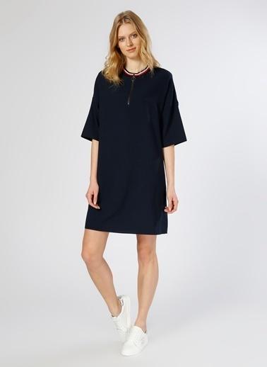 Limon Company Yarım Kollu Fermuarlı Kısa Kollu Elbise Lacivert